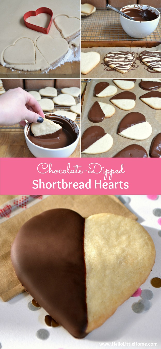 Treat someone special to these Chocolate-Dipped Shortbread Hearts! They're the perfect Valentine's Day recipe! | Hello Little Home
