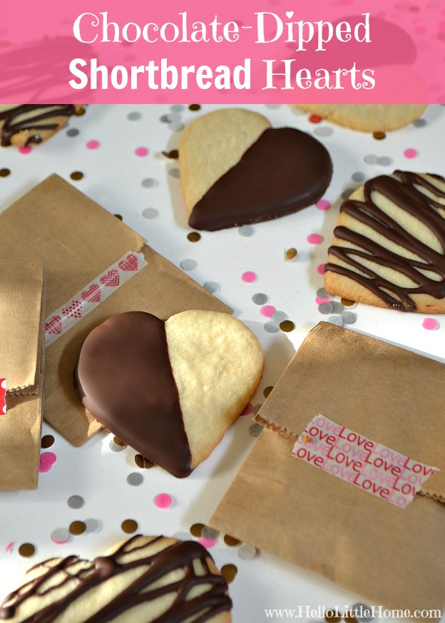 Chocolate-Dipped Shortbread Hearts | Hello Little Home for The Pinning Mama #cookies #ValentinesDay