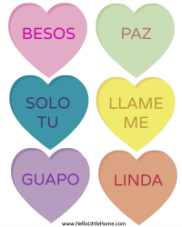 DIY Conversation Heart Banner ... Now in Spanish! | Hello Little Home #ValentinesDay #FreePrintable