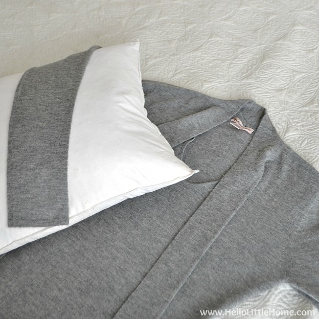 Easy Bedroom Update: Next up, a new pillow made from a sweater! | Hello Little Home #InteriorDesign #Levolor #Decor