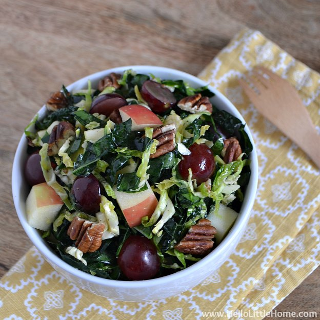 Kale and Brussels Sprouts Salad with Maple Vinaigrette | Hello Little Home #vegetarian #vegan #healthy