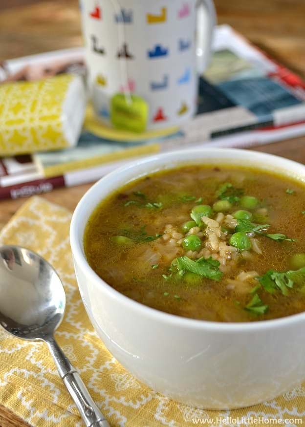 Sick Day Special: Easy Peas and Rice Soup | Hello Little Home #healthy #vegan #vegetarian