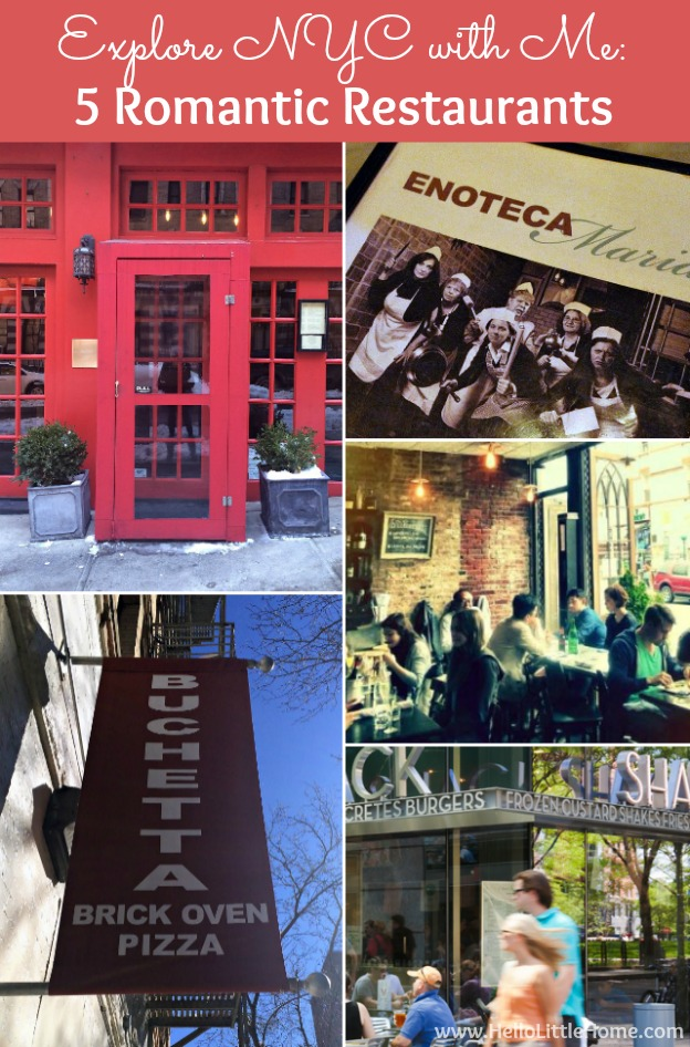 Collage of photos showing Romantic NYC restaurants.