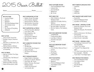 2015 Oscar Ballot Printable with Free Printables | Hello Little Home #AcademyAwards #DIY