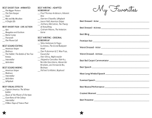 2015 Oscar Ballot Printable with Free Printables | Hello Little Home #AcademyAwards #DIY