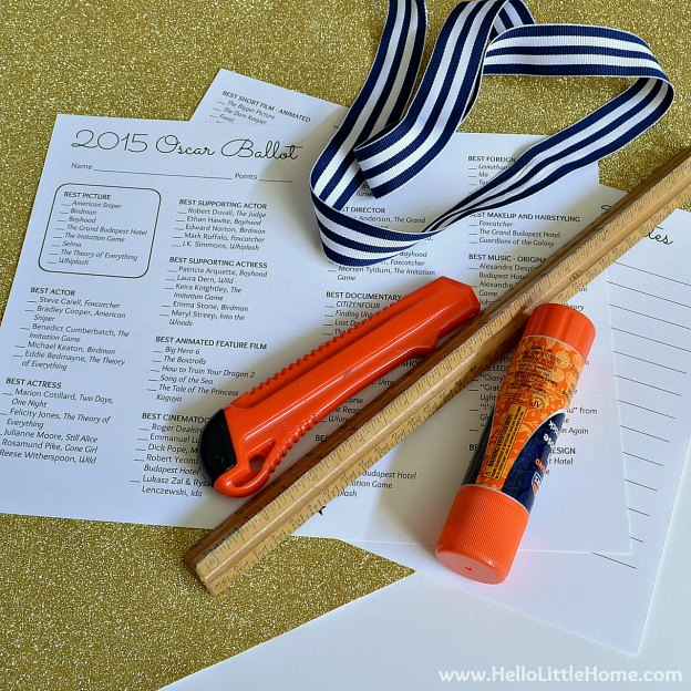 Supplies for 2015 Oscar Ballot Printable and Envelope | Hello Little Home #DIY #AcademyAwards