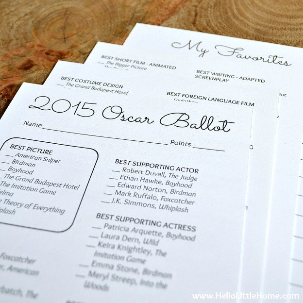 2015 Oscar Ballot with Free Printables | Hello Little Home #DIY #AcademyAwards