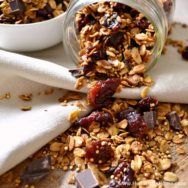 150+ Vegetarian Easter Recipes that are perfect for your holiday dinner or brunch, including this Chocolate Covered Cherry Granola! Find tons of vegetarian and vegan recipe ideas - from healthy appetizers to decadent desserts - that your whole family will love! Hello Little Home