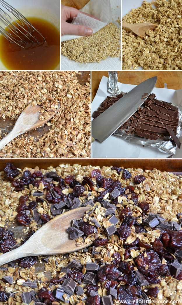 Making Chocolate Covered Cherry Granola.