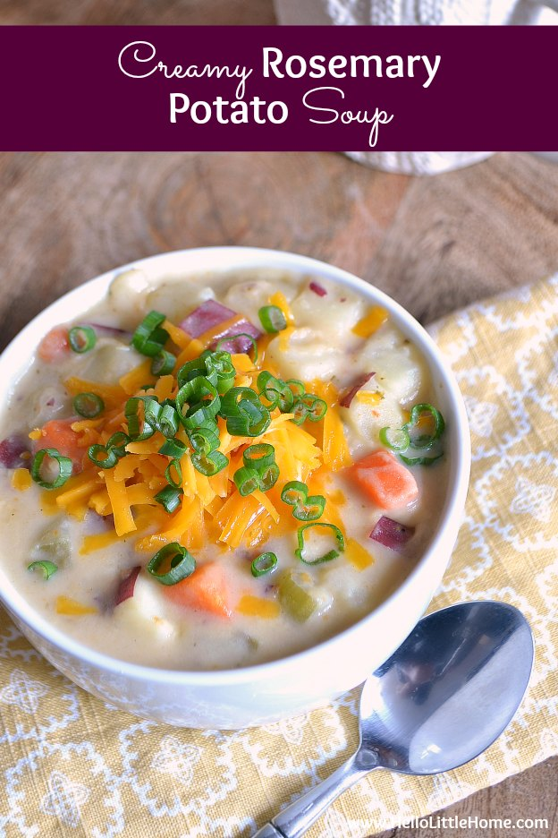 This hearty, comforting, and delicious Creamy Rosemary Potato Soup is the perfect winter meal! Make this Creamy Potato Soup from ingredients you probably already have in your cupboard. This easy Potato Soup recipe is the ultimate winter comfort food! | Hello Little Home #vegetarian #vegetarianrecipes #soup #souprecipe #potatosoup #comfortfood #vegetariancomfortfood