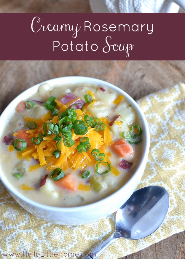 This Creamy Rosemary Potato Soup is the perfect winter warm-up! | Hello Little Home #vegetarian #comfortfood