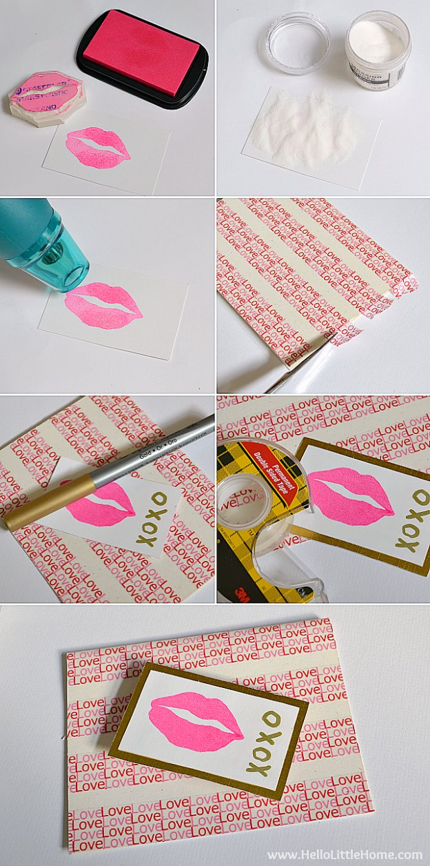 Make this easy stamped Valentine's Day card with just a few supplies! | Hello Little Home #DIY #craft #papercrafts