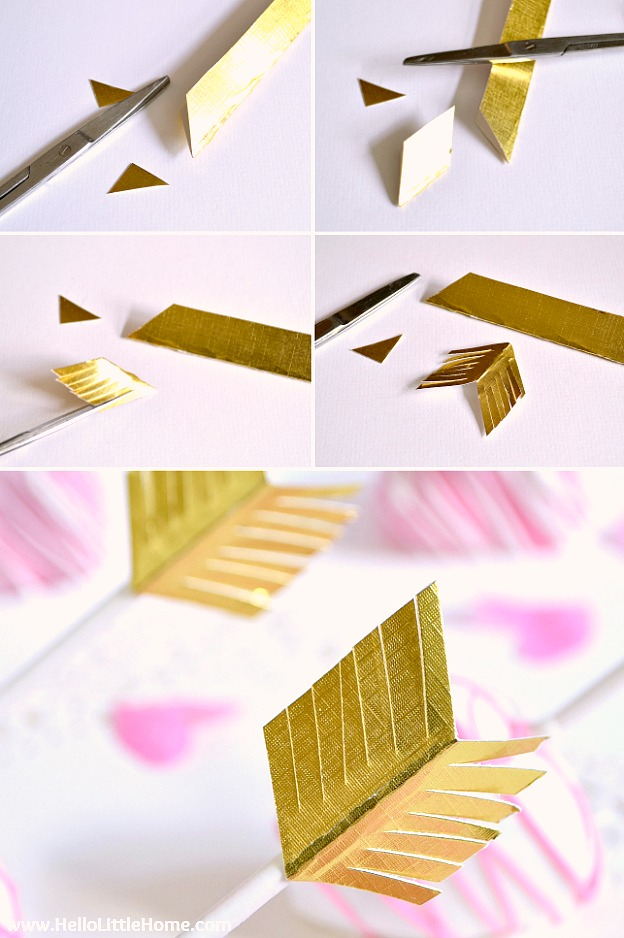 Step by step photos showing how to make arrow toppers for cake pops.
