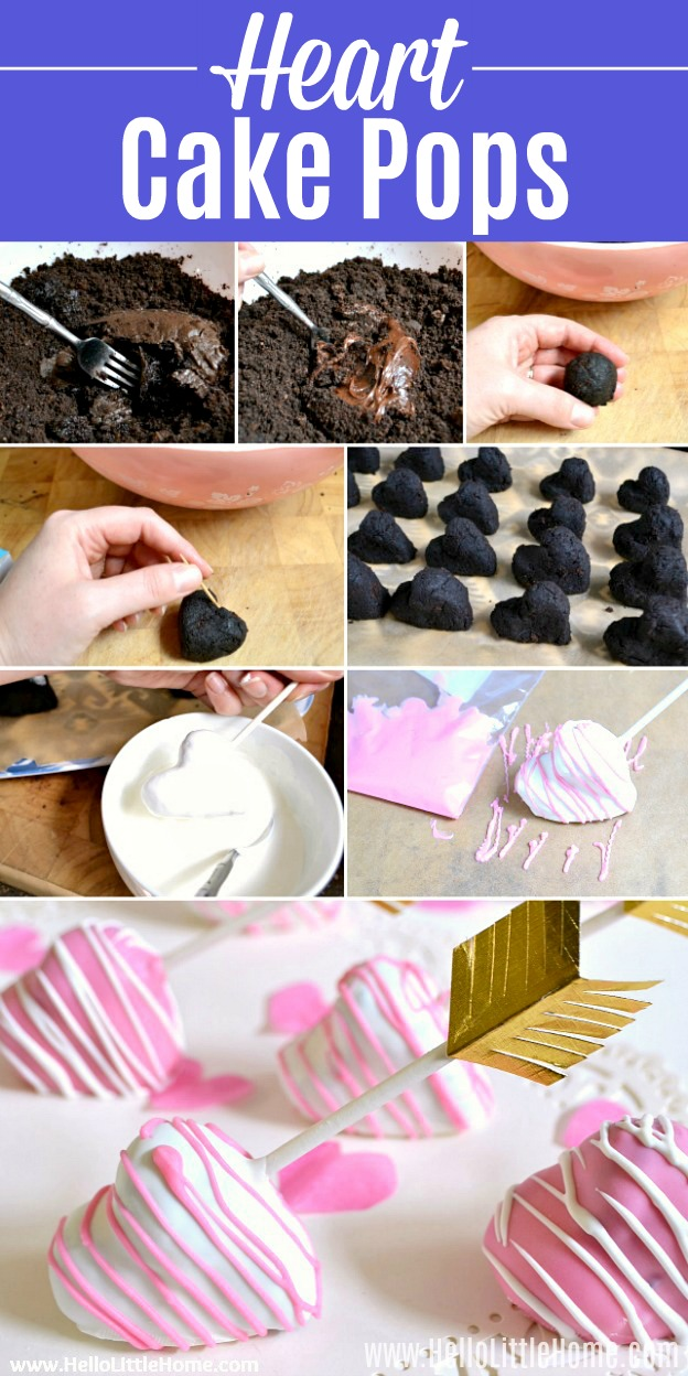 A step by step photo collage showing how to make Heart Shaped Cake Pops.