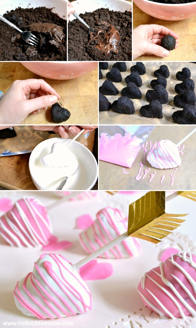 Step by Step photos showing how to make heart shaped cake pops.