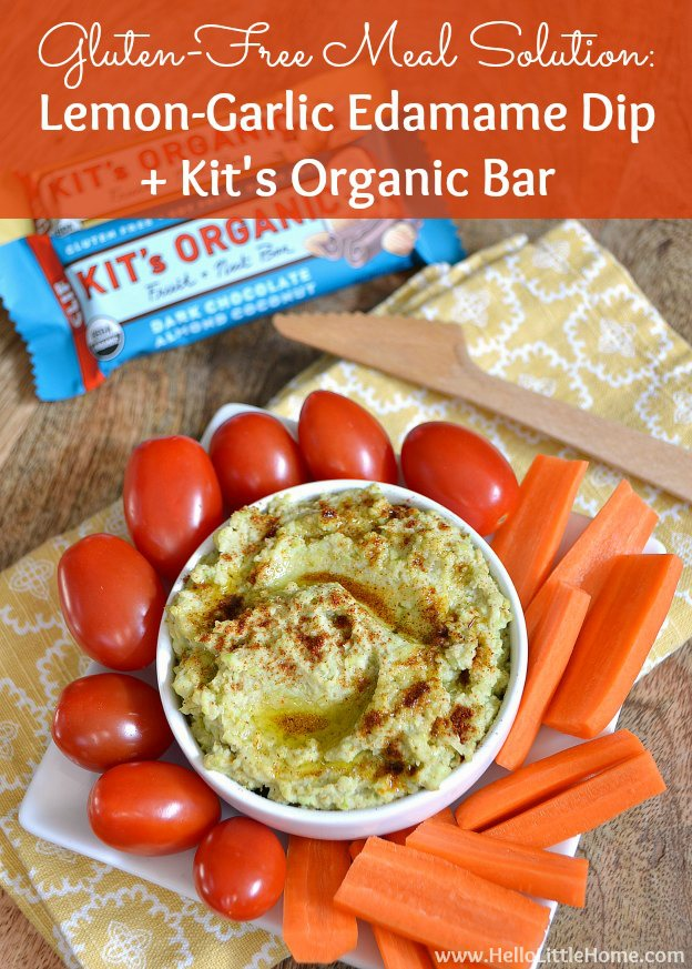 This Lemon-Garlic Edamame Dip + a Kit's Organic Bar make a great gluten free meal solution! | Hello Little Home #Vegan #Healthy #GFWalmart
