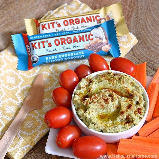 This Lemon-Garlic Edamame Dip + a Kit's Organic Bar make a great gluten free meal solution! | Hello Little Home #Vegan #Healthy #GFWalmart