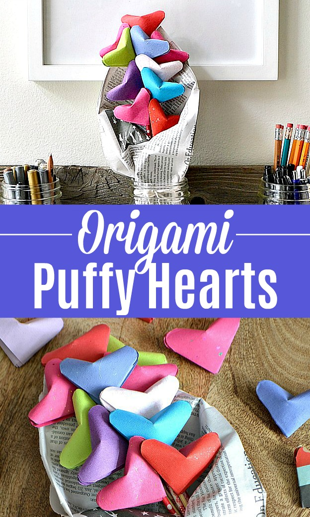 Origami Hearts arranged into a cute bouquet.