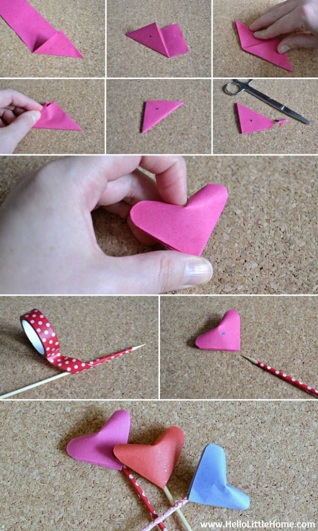 Step-by-step instructions for making an Origami Puffy Heart Bouquet ... makes a super sweet Valentine's Day gift! | Hello Little Home