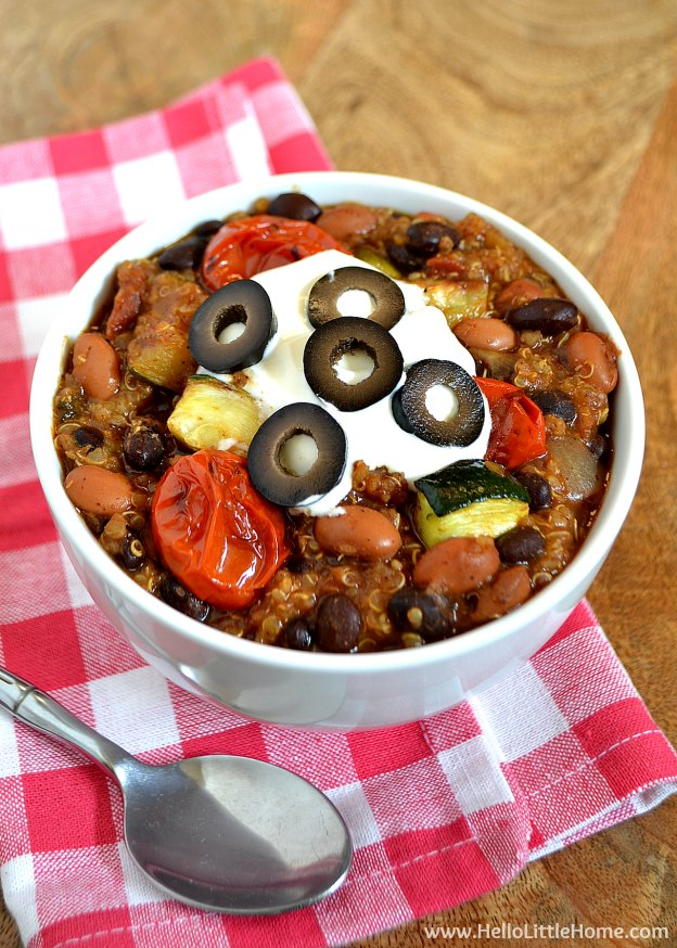 Roasted Vegetable Quinoa Chili ... one of 100 Vegetarian Game Day Recipes! Get ready for the big game with over 100 vegetarian and vegan appetizers, soups, chilis, main dishes, sandwiches, breakfast, desserts, and more that will make your next football watching party unforgettable! | Hello Little Home