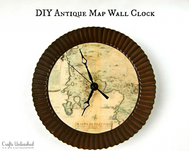 DIY Ideas for Decorating with Maps: Make Your Own Map Clock from Crafts Unleashed   Hello Little Home #MapCrafts #PaperCrafts #InteriorDesign