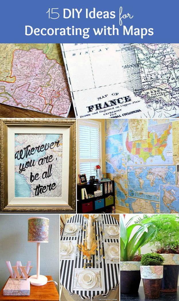 A photo collage of different map crafts.