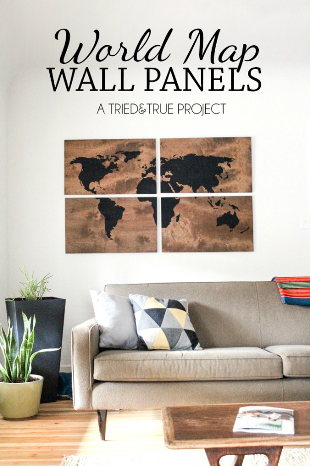 DIY Ideas for Decorating with Maps: World Map Art Panels from Tried & True | Hello Little Home #MapCrafts #WoodCrafts #InteriorDesign