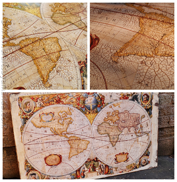 DIY Ideas for Decorating with Maps: Distressed, Crackled Vintage Map from Crafts by Amanda | Hello Little Home #MapCrafts #PaperCrafts #InteriorDesign