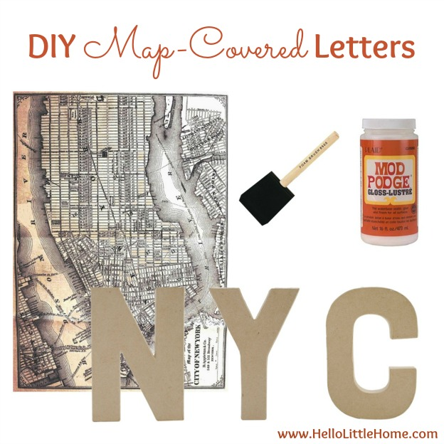 DIY Ideas for Decorating with Maps: Map-Covered Letters   Hello Little Home #MapCrafts #PaperCrafts #InteriorDesign