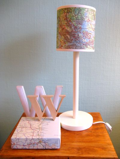 DIY Ideas for Decorating with Maps: Map Covered Lampshade from Chez Larsson   Hello Little Home #MapCrafts #PaperCrafts #InteriorDesign