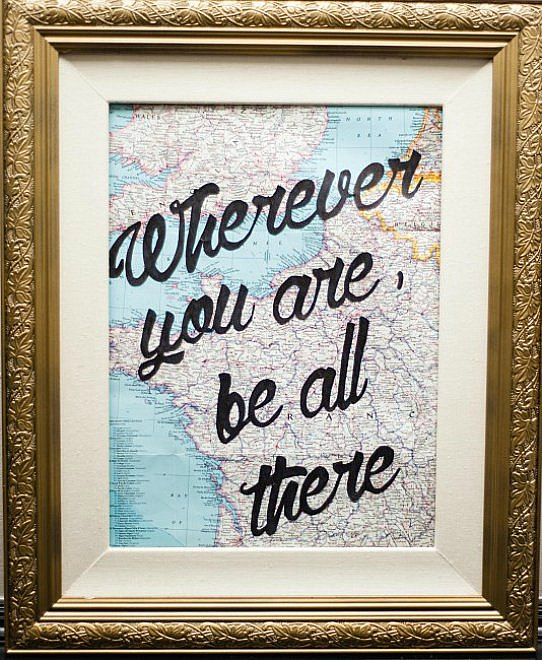 DIY Ideas for Decorating with Maps: Framed Map with Quote from Dwell Beautiful   Hello Little Home #MapCrafts #PaperCrafts #InteriorDesign