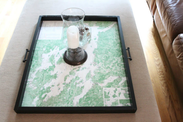 DIY Ideas for Decorating with Maps: Large Map Tray from Shine Your Light   Hello Little Home #MapCrafts #PaperCrafts #InteriorDesign