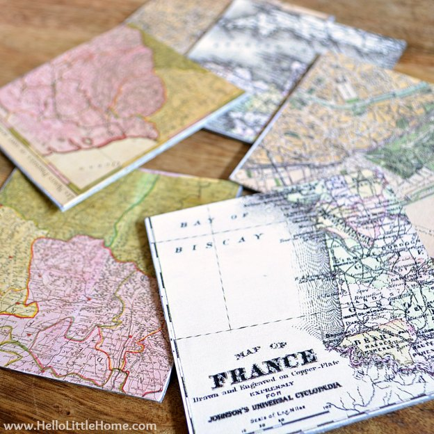 DIY Ideas for Decorating with Maps: Vintage French Map Coasters | Hello Little Home #MapCrafts #PaperCrafts #InteriorDesign