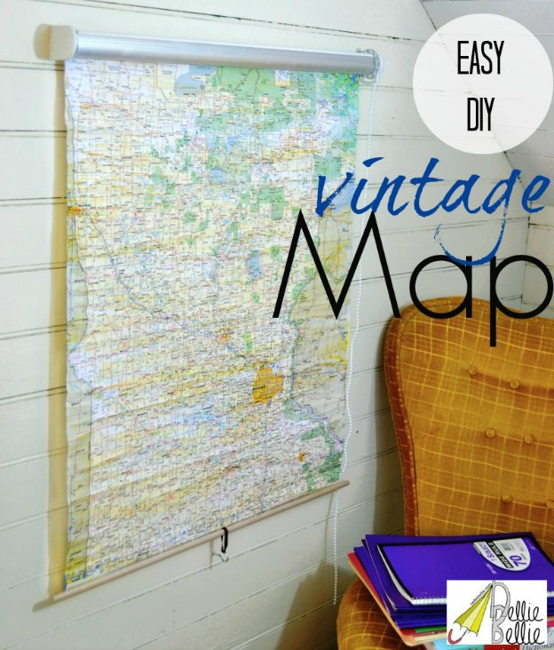 DIY Ideas for Decorating with Maps: Roll-Up Map from a Window Shade from Nellie Bellie | Hello Little Home #MapCrafts #PaperCrafts #InteriorDesign