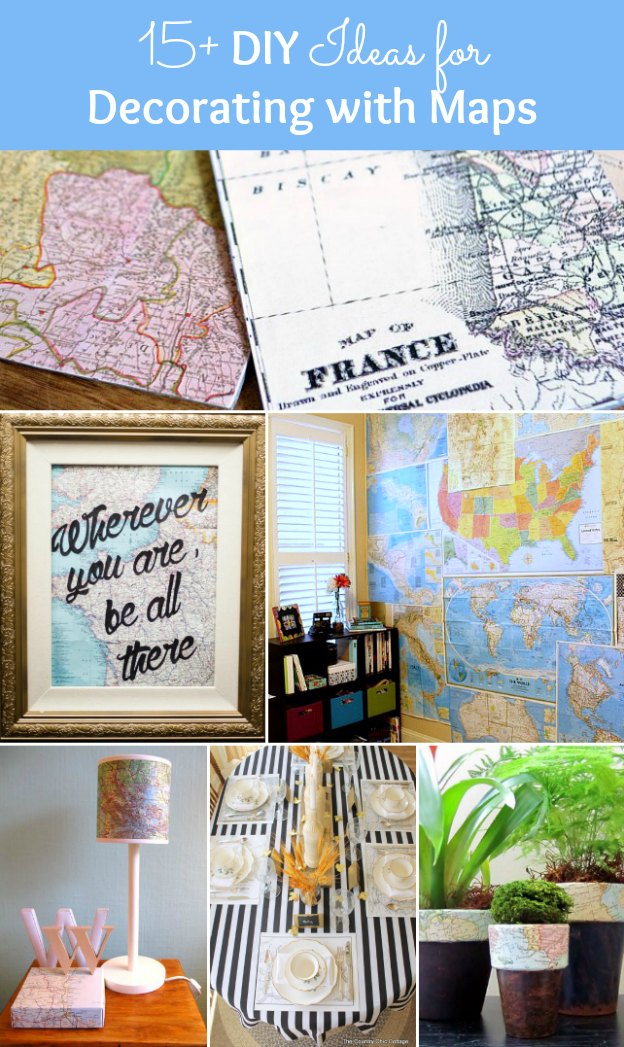 15+ DIY Ideas for Decorating with Maps! | Hello Little Home #MapCrafts #PaperCrafts #InteriorDesign