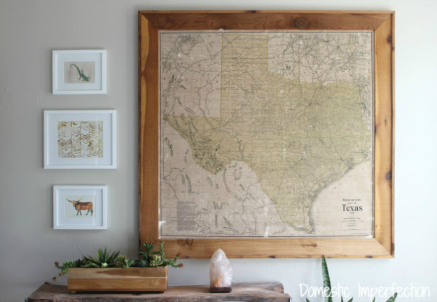 DIY Ideas For Decorating With Maps - Vintage texas map framed