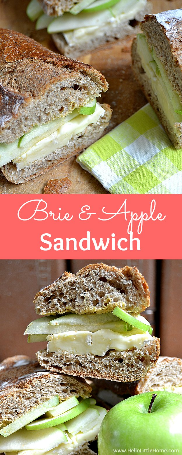 Easy Brie and Apple Sandwich ... the ultimate vegetarian picnic recipe! This cold brie and apple sandwich tastes decadent, yet takes minutes to make. Enjoy this brie apple baguette outdoors or anytime you need a summery pick me up! | Hello Little Home