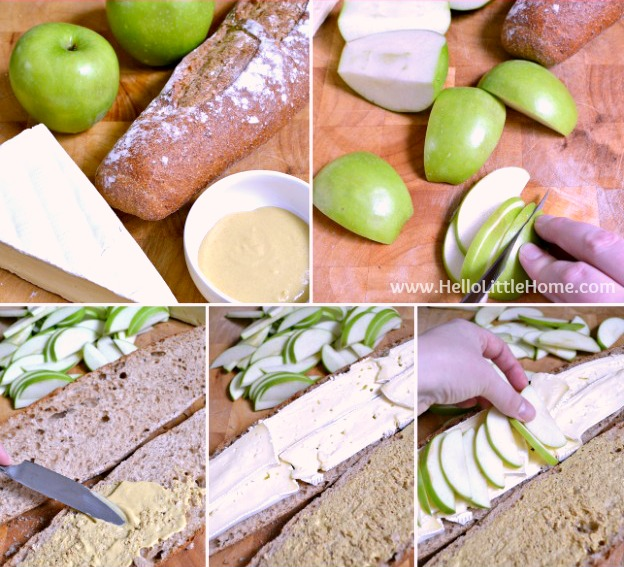 Assembling an Apple and Brie Sandwich.