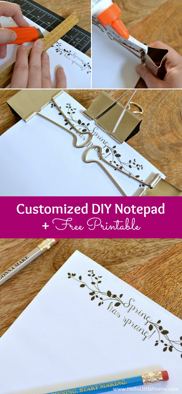 Learn how to make your own Customized DIY Notepads + get a free Spring Has Sprung printable! | Hello Little Home