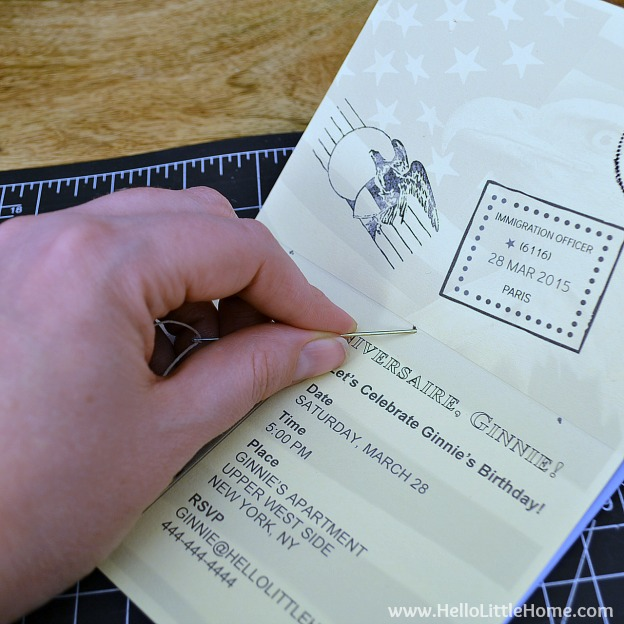 Assembling the DIY Passport Invitation | Hello Little Home