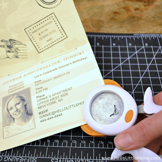 Rounding the corners of the DIY Passport Invitation | Hello Little Home