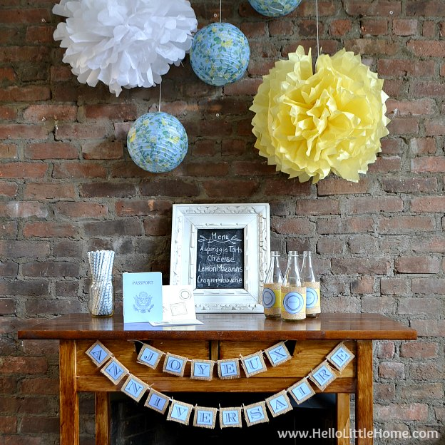 DIY French Themed Party Decorations with Free Printables ... everything you need to throw a fun and festive fête! Recreate this easy French party theme at home with free printable banners, invitations, and more, plus get delicious food ideas and tons of inspiration! | Hello Little Home