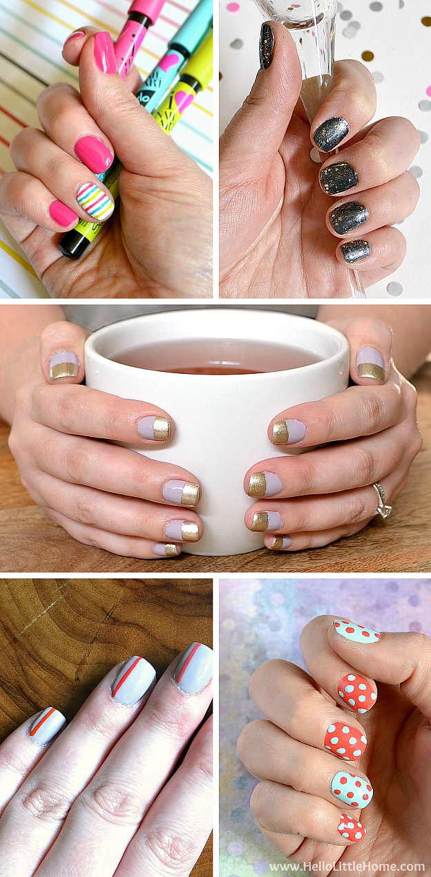 DIY Nail Art Tutorials ... tons of fun, easy techniques! Learn how to do everything from polka dots to stripes to hearts. You're going to love these cute nail art tips! | Hello Little Home