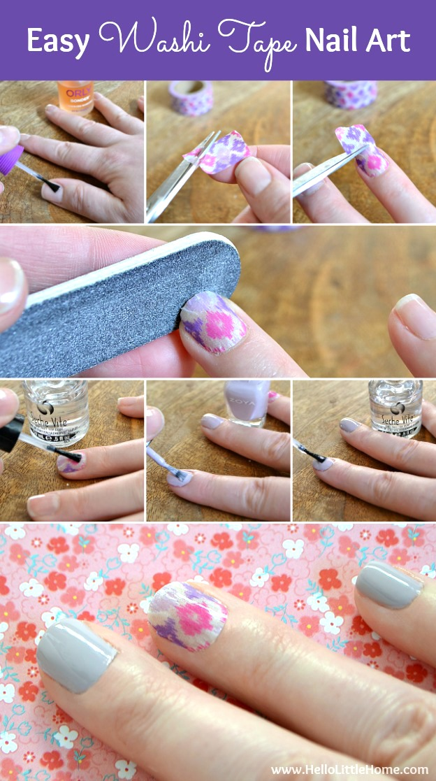 This Washi Tape Nail Art is a fun way to dress up a simple manicure ... no tricky skills required! | Hello Little Home