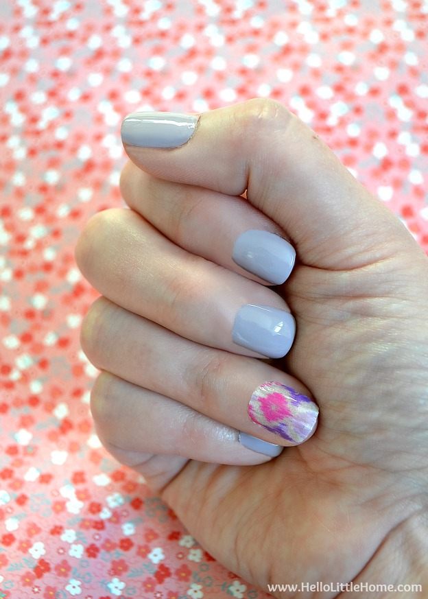 This Washi Tape Nail Art is a fun way to dress up a simple manicure! | Hello Little Home #nails #nailpolish