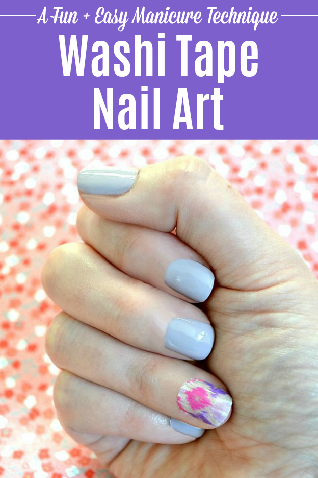 Learn how to do Washi Tape Nail Art! This fun washi tape idea is a great way to dress up a simple manicure ... no tricky skills required for this easy DIY Nail Art Idea! Follow this step-by-step Washi Tape Nails tutorial for a simple way to add patterns to a mani. Once you learn how to do Washi Tape Nail Art, you can change up your manicure super easily with cute nail art designs. | Hello Little Home #nails #nailart #nailpolish #naildesigns #manicure #mani #washitape #washitapeideas #pedicure