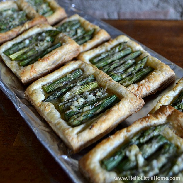 Try one of these French themed food ideas for your next party! Asparagus Tart | Hello Little Home