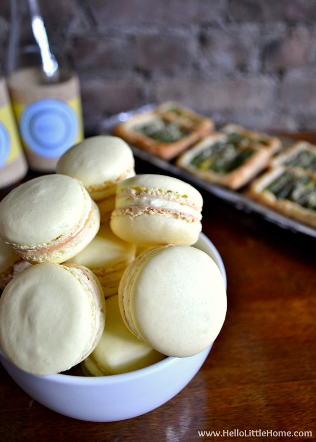 Try one of these French themed food ideas for your next party! Lemon Macarons | Hello Little Home