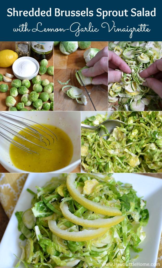 Shredded Brussels Sprout Salad with Lemon-Garlic Vinaigrette