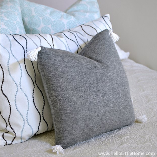 Dress up your home with a gorgeous and easy-to-make DIY Cashmere Sweater Pillow Cover! | Hello Little Home #stylebymethod #clevermethod